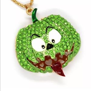 Funny Scary Halloween Green Pumpkin Necklace